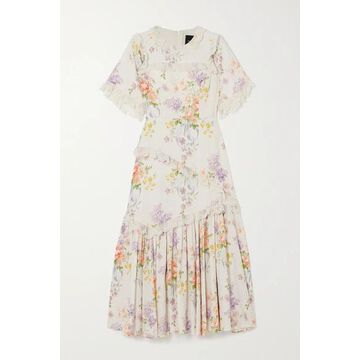 Needle & Thread - Elsa Lace-trimmed Floral-print Broderie Anglaise Crepe Dress - Ivory