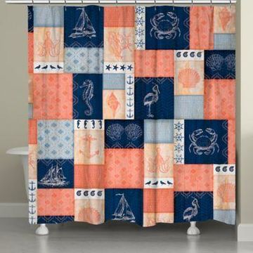 Laural Home Coral and Navy Coastal Shower Curtain