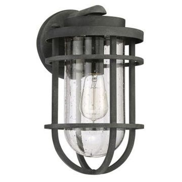 Quoizel Boardwalk Outdoor Medium Wall Lantern in Mottled Black