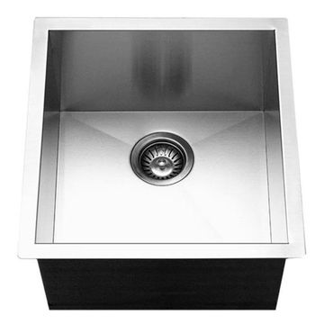 HOUZER Contempo Brushed Satin Single Bowl Stainless Steel Undermount Residential Prep Sink