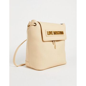 Love Moschino logo quilted backpack in beige-Red