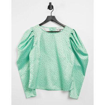 Closet London puff sleeve top in mint polka dot print-Green