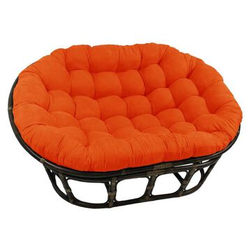 Blazing Needles 65-in by 48-in Solid Microsuede Double Papasan Cushion- Tangerine Dream