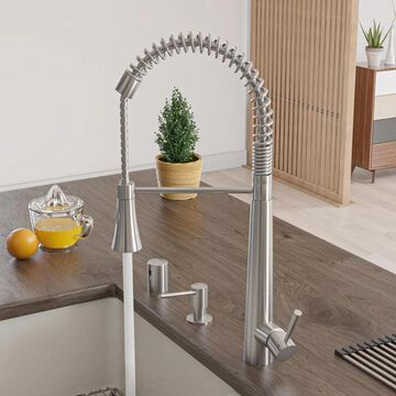 ALFI brand Brushed Stainless Steel 1-Handle Deck-Mount Pull-Down Handle Kitchen Faucet | AB2039S