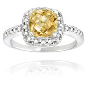 Glitzy Rocks Sterling Silver Square Cushion-cut Gemstone and Diamond Accent Ring (November - Yellow - Yellow - 4.5 - Citrine)