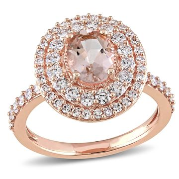 Modern Bride Gemstone Womens Genuines Pink Morganite 14K Gold Engagement Ring