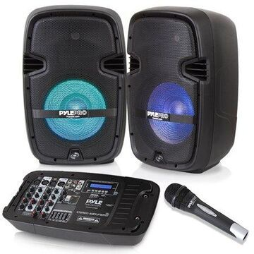 PYLE PPHP210AMX - Stage & Studio PA Speaker & DJ Mixer Bundle Kit - (2) 10   Bluetooth PA Loud-Speakers with Built-in LED Lights, 8-Ch. Audio Mixer, Speaker Stands, Wired Microphone (600 Watt)