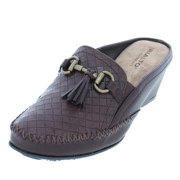 Rialto Womens Santana Faux Leather Stitching Mules