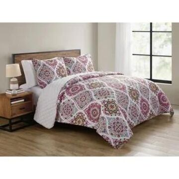 VCNY Home Danielle Pink Ogee Quilt Set