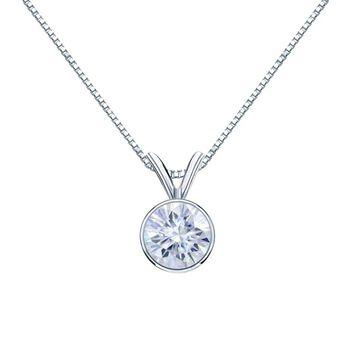 Auriya 14k Gold 1 1/4ctw Solitaire Moissanite Necklace Bezel-set - 7 mm (Rose)