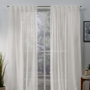 Exclusive Home 2-pack Belgian Sheer Hidden Tab Top Window Curtains