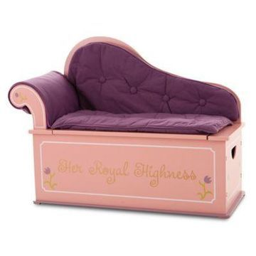 Wildkin Kid's Princess Fainting Couch with Storage in Pink