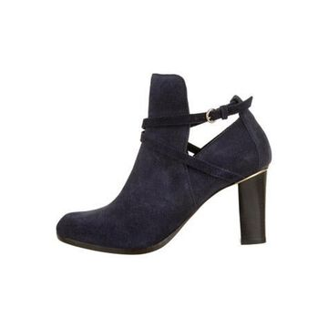Suede Round-Toe Boots Blue