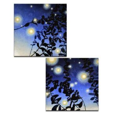 "Ready2HangArt 'Fire Bugs I/Ii' 2 Piece Canvas Wall Art Set, 20x40"""