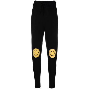smiley-embroidered joggers