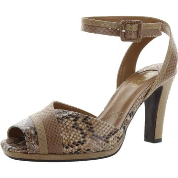 J. Renee Womens Kinnon Heel Sandals Snake Prnt Open Toe - Natural Multi
