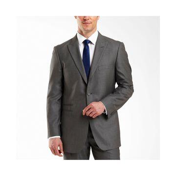 JF J. Ferrar 2-Button Gray Sharkskin Suit Jacket - Classic