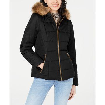 Juniors' Puffer Coat with Faux Fur Trim Hood