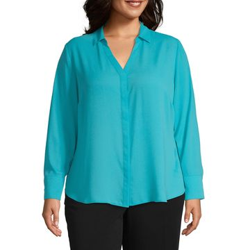 Worthington Placket Front Blouse - Plus