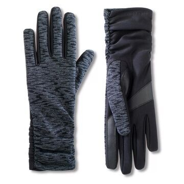 Women's isotoner Lined Water Repellent Spandex Gloves with Ruched Sides