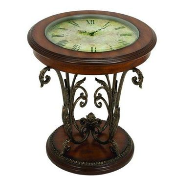 Decmode Metal and Wood Table with Clock, Multi Color