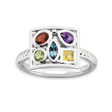 Versil Sterling Silver Gemstone Ring