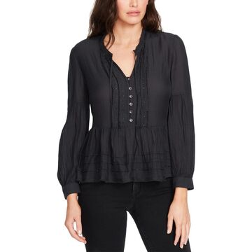 William Rast Womens Atwood Embellished Long Sleeve Peasant Top