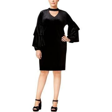 NY Collection Womens Plus Velvet Choker Midi Dress