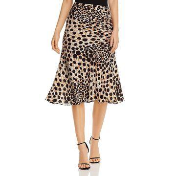 Elie Tahari Womens Haidee Midi Skirt Silk Printed - Sorrel Multi