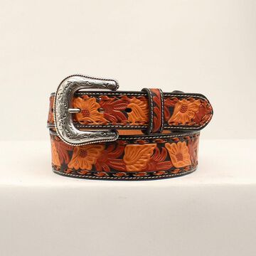 N2415067-36 3-Tone Floral Embossing Mens Belt & Buckle - Size 36