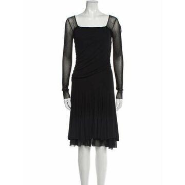 Square Neckline Midi Length Dress Black