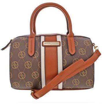 Adrienne Vittadini Womens Faux Leather Convertible Barrel Handbag