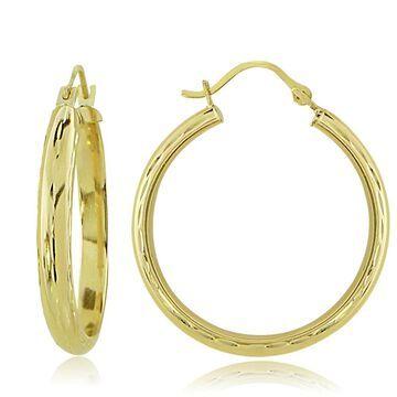 Mondevio 14k Gold 3mm Half-round Diamond-Cut Hoop Earrings (22 mm)
