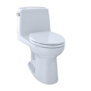 TOTO MS854114EG Eco UltraMax One Piece Elongated 1.28 GPF Toilet with E-Max Flush System and CeFiONtect - SoftClose Seat Included Cotton Fixture