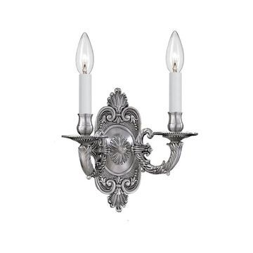Crystorama Traditional 2-light Pewter Wall Sconce