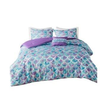 Mi Zone Pearl Full/Queen Metallic Printed Reversible Comforter, Set of 4 Bedding