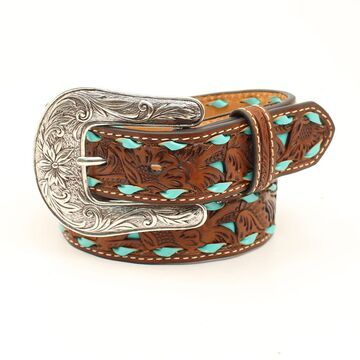 N4439608-28 1.25 in. Floral Pierced Strap Turquoise Buck Laced Edges Girls Belt & Buckle, Tan - Size 28