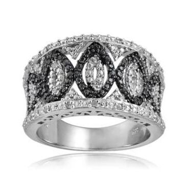 DB Designs Sterling Silver 1/4ct TDW Blue/Black and White Diamond Ring (Black Diamond Size 7)