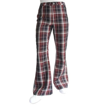 Almost Famous Juniors' High Rise Plaid Flare Jeans