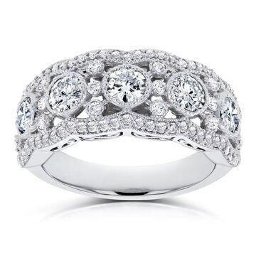 Annello by Kobelli 10k White Gold Moissanite and Diamond Anniversary Ring (GH/VS, HI/I) (6.5)