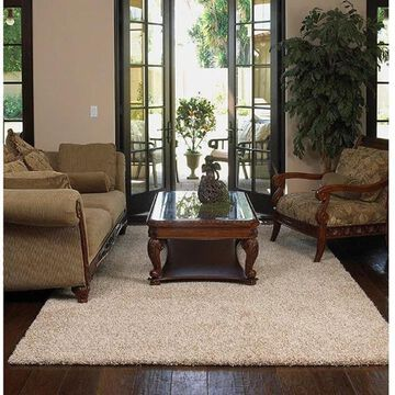 Shaw Uptown Girl Solid-colored Nylon/Polyester Premium Shag Area Rug (8' x 10') - 8' x 10'