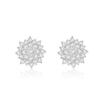Divina Sterling Silver 1/3ct TDW Diamond Flower Stud Earrings