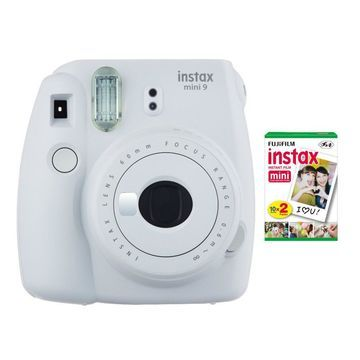 Fujifilm instax Mini 9 Instant Camera (Smokey White) with instax Film Twin Pack