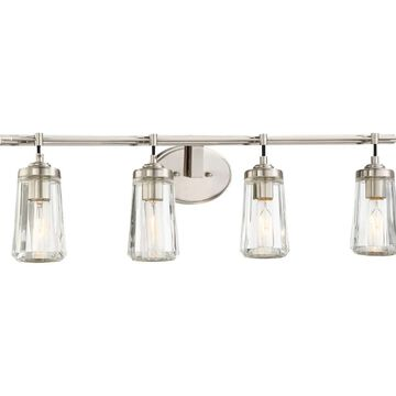 Minka Lavery Poleis 4-Light Bathroom Vanity Light in Brushed Nickel