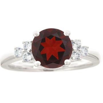Premier 2.00cttw Round Garnet & Diamond Ring, 14K