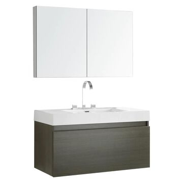 Fresca Senza 39-in Gray Oak Single Sink Bathroom Vanity with White Acrylic Top (Faucet Included) | FVN8010GO
