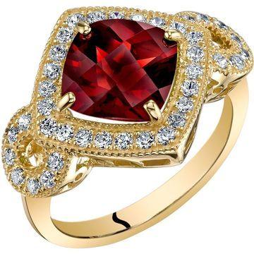 Oravo 14K Yellow Gold Garnet Ring Cushion Cut 2.50 Carats