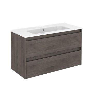 WS Bath Collections Ambra 40-in Samara Ash Single Sink Bathroom Vanity with Ceramic White Ceramic Top in Brown   AMBRA 100 SA