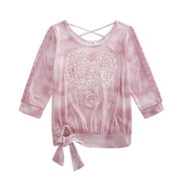 Beautees Big Girls Tie-Dyed Heart Top