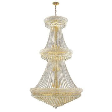 Worldwide Lighting Empire 32-Light Polished Gold Glam Crystal Empire Chandelier
